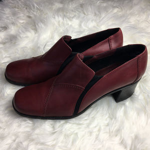 Clark Red Leather Ankle Booties with Chunky Heel